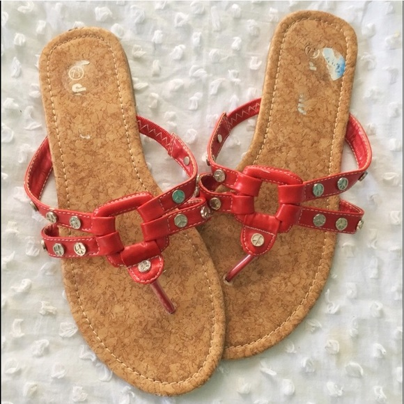 e53b0973922 Dreams Shoes - Red Peace Sign Flat Thong Sandals